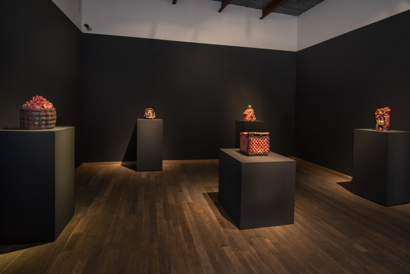 "An installation view of works from Francisco Toledo's ""Duelo"" series at Latin American Masters"