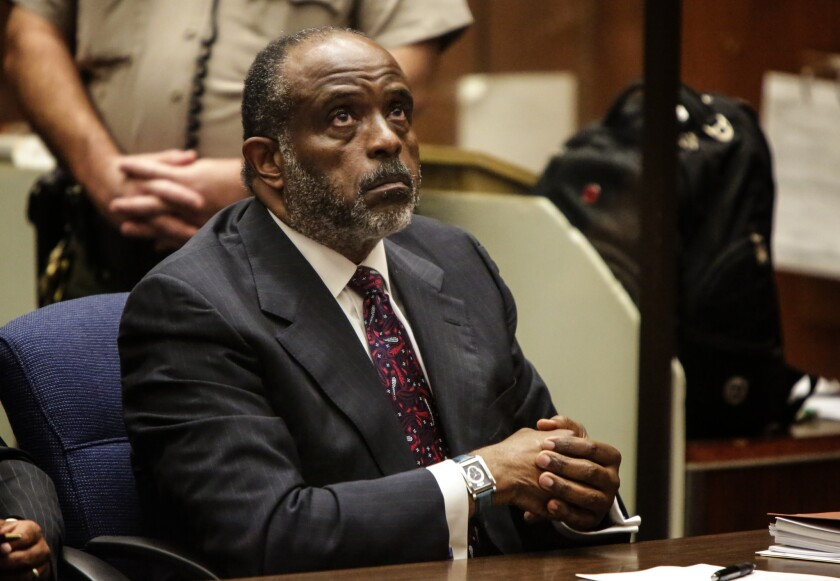 Four candidates are vying to fill the 35th Senate District seat vacated by Democratic Sen. Roderick Wright, seen in September in court. Wright resigned after he was convicted of lying about living in the district.