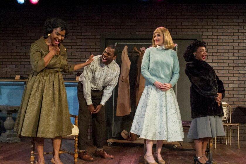 """Monique Gaffney, Vimel Sephus, Samantha Ginn and Cashae Monya in Moxie Theatre's """"Trouble in Mind."""""""