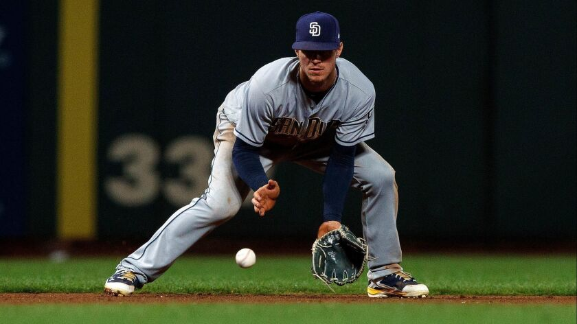 Wil Myers fields a ground ball Monday.