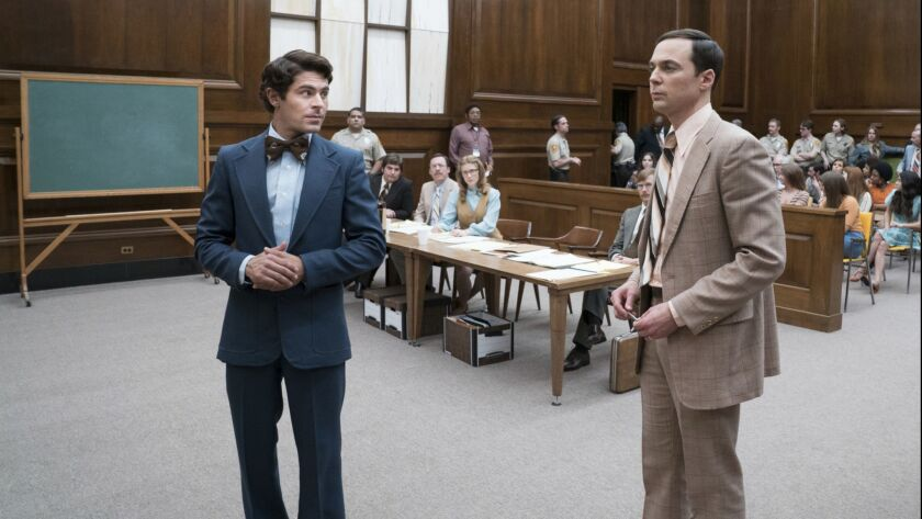 "This image released by Netflix shows Zac Efron, left, and Jim Parsons in a scene from ""Extremely Wic"