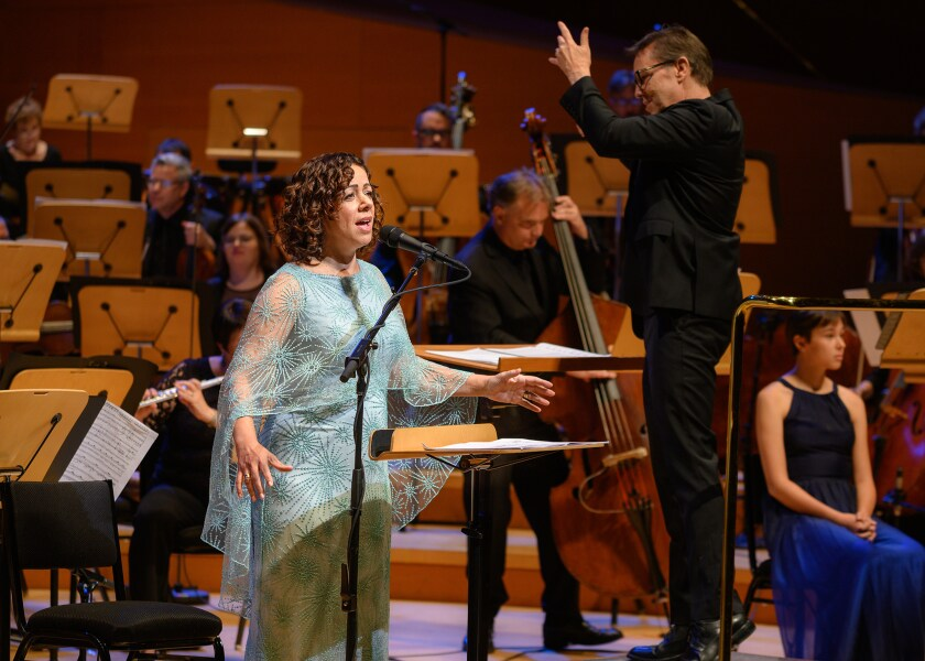 "Luciana Souza sings with the Los Angeles Master Chorale performing Osvaldo Golijov's ""Oceana."""