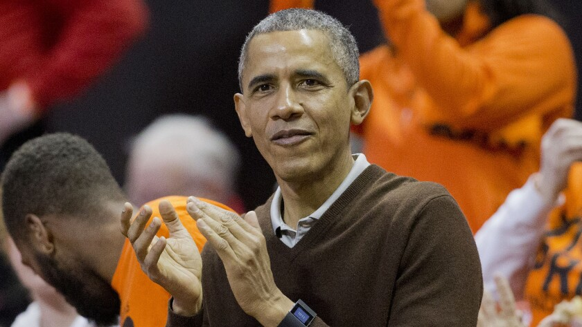President Obama attends an NCAA women's basketball tournament game between Princeton and Wisconsin-Green Bay on Saturday. Obama's niece, Leslie Robinson, plays for Princeton.