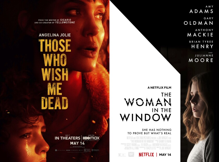 """This combination photo shows promotional art for the films """"Those Who Wish Me Dead,"""" premiering Friday on HBO Max, left, and """"The Woman in the Window,"""" premiering Friday on Netflix. (Warner Bros. Pictures via AP, left, and Netflix via AP)"""