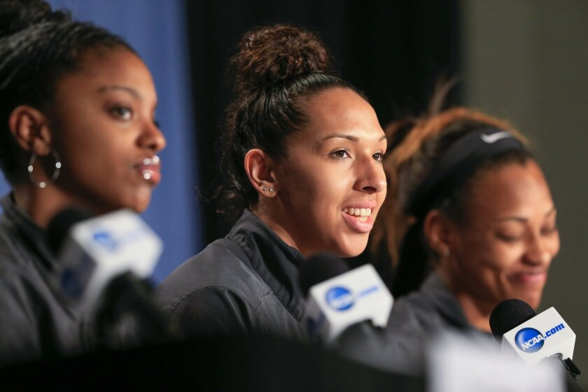 Tennessee's Mercedes Russell sits between Diamond DeShields, left, and Bashaara Graves, right, during a news conference ahead of a women's college basketball regional final in the NCAA Tournament in Sioux Falls, S.D., Saturday, March 26, 2016. Tennessee plays Syracuse on Sunday. (AP Photo/Nati Harnik)