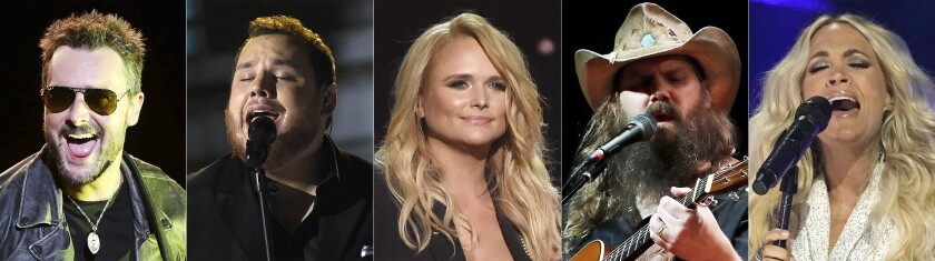 Eric Church, Luke Combs, Miranda Lambert, Chris Stapleton y Carrie Underwood. (AP Foto)