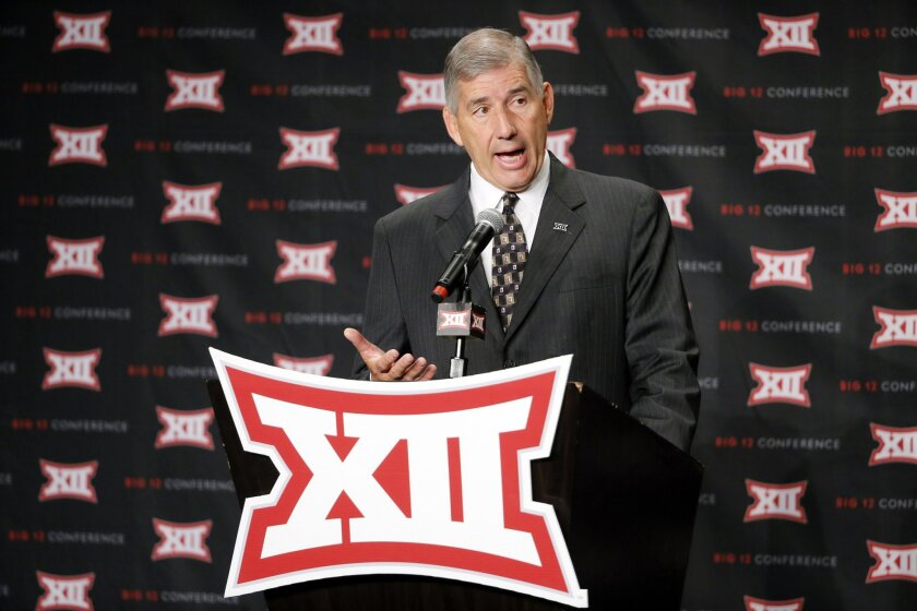 Big 12 commissioner Bob Bowlsby addresses attendees during Big 12 media day, Monday, July 18, 2016, in Dallas. With expansion still an unsettled issue for the Big 12 Conference, Commissioner Bowlsby gave his annual state of the league address to open football media days. And a day later he meets wi