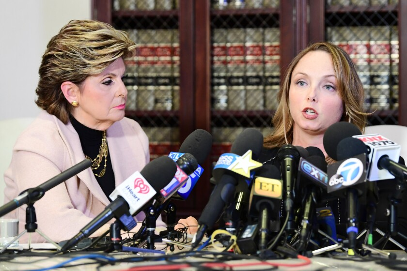 Louisette Geiss, right, with attorney Gloria Allred.