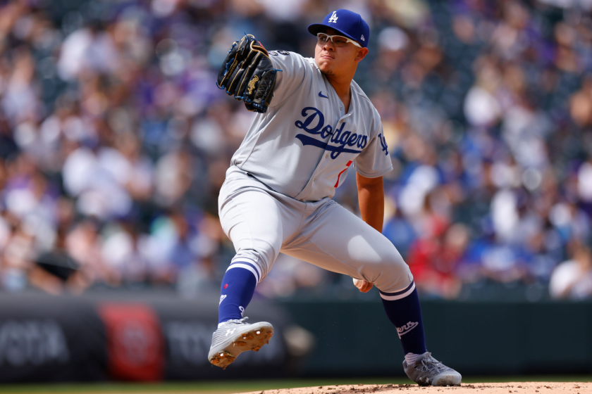 Dodgers starting pitcher Julio Urías delivers a pitch during Sunday's series finale against the Colorado Rockies.