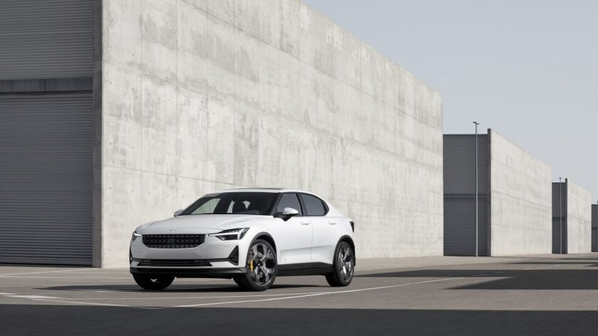 This undated photo made available by Polestar, shows the Polestar 2 electric car in Spain. Volvo's e