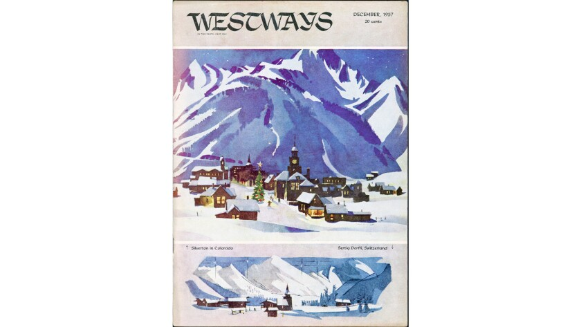 A 1957 Westways magazine cover by Rex Brandt is on display at the Hilbert Museum of California Art