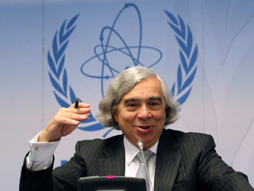 FILE - In this Sept. 22, 2014 file photo, Energy Secretary Ernest Moniz speaks during the general conference of the International Atomic Energy Agency, IAEA, at the International Center in Vienna, Austria. Moniz, the eccentric MIT professor-turned-U.S. Energy secretary, by all accounts played a pivotal role in reaching the historic nuclear accord. Now with his diplomatic legacy on the line, President Barack Obama is turning to Moniz to help sell the deal to a highly skeptical Congress. (AP Photo/Ronald Zak, File)