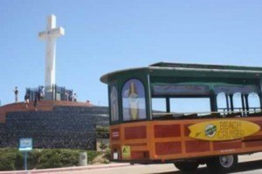 Old Town Trolley Beach Cruiser stops by Mount Soledad.