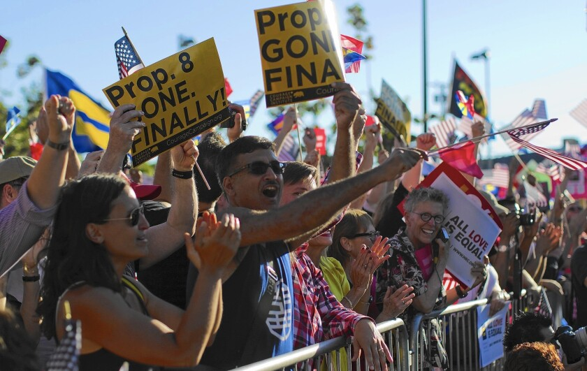 People rally in West Hollywood in 2013 to celebrate the Supreme Court ruling that struck down California's Proposition 8, which had banned same-sex marriage. The Mormon Church, an ardent supporter of Proposition 8, was caught off guard by the fury provoked by the campaign.