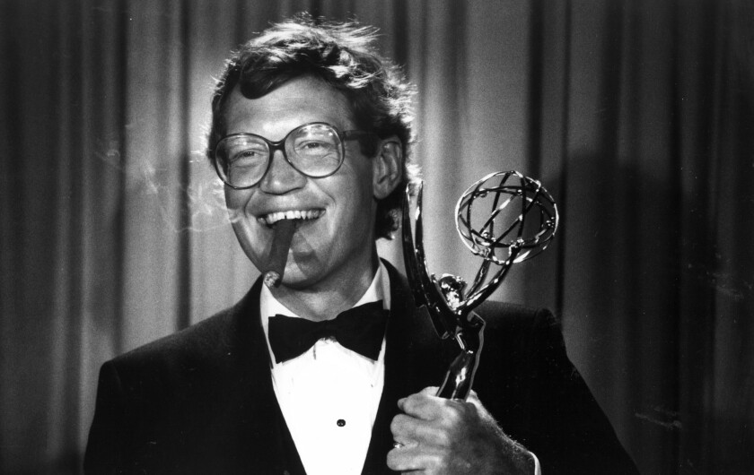 David Letterman and the Emmy he won for outstanding variety/music in 1985.