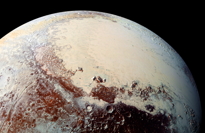 This high-resolution image of Pluto's heart feature was captured by NASA's New Horizons spacecraft. The region, informally called Sputnik Planum, has been found to be rich in nitrogen, carbon monoxide and methane ices.