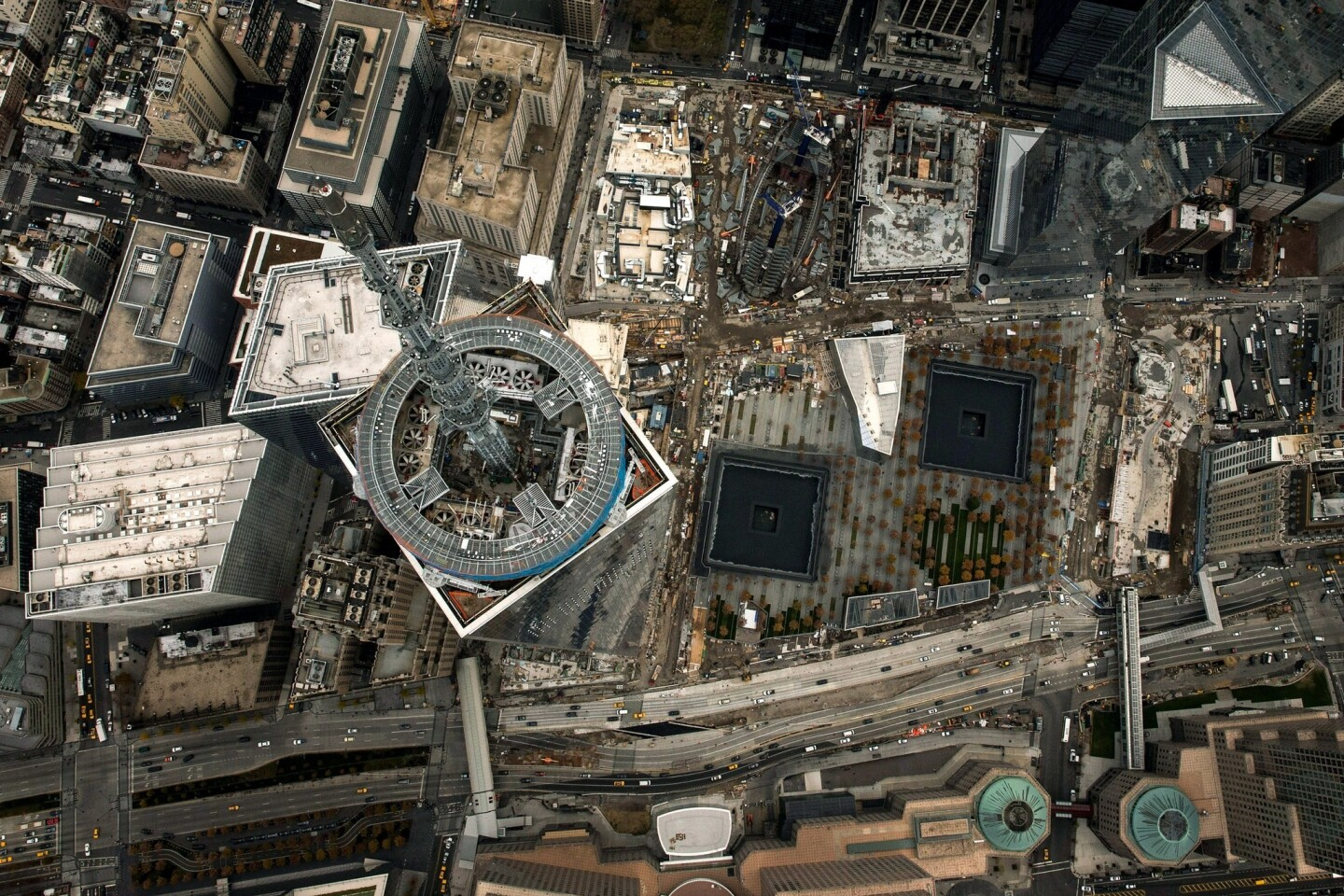 One World Trade Center, seen from a helicopter looking directly down on the building. The building was deemed the tallest building in the U.S. on Tuesday.