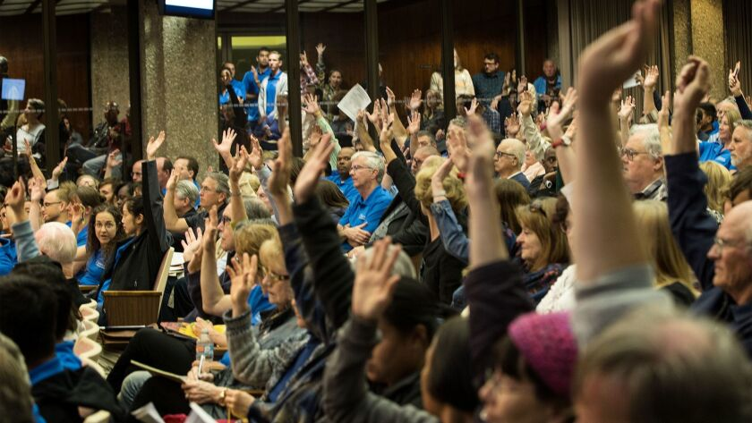 TORRANCE, CA - MARCH 28, 2017: Torrance residents fill every seat in council chambers to voice their