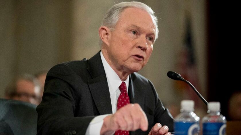 Attorney General-designate, Sen. Jeff Sessions, R-Ala. testifies on Capitol Hill in Washington, Tuesday, Jan. 10, 2017, at his confirmation hearing before the Senate Judiciary Committee.