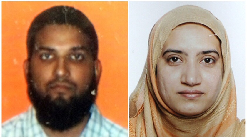 At left, Syed Farook in an undated student ID card photo from California State University, Fullerton. At right, an undated handout photo of Tashfeen Malik.