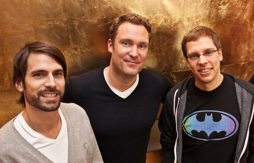 Moviepilot Chief Content Officer Jon Handschin, left, Chief Executive Tobias Bauckhage and Chief Product Officer Ben Kubota.