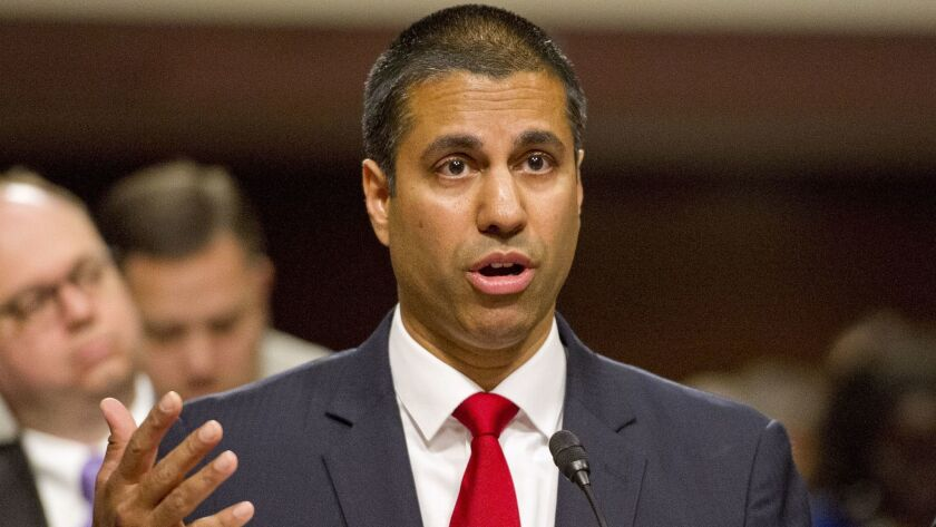 Federal Communications Commission Chairman Ajit Varadaraj Pai testifies on July 19 before the U.S. Senate Committee on Commerce, Science, and Transportation in Washington.