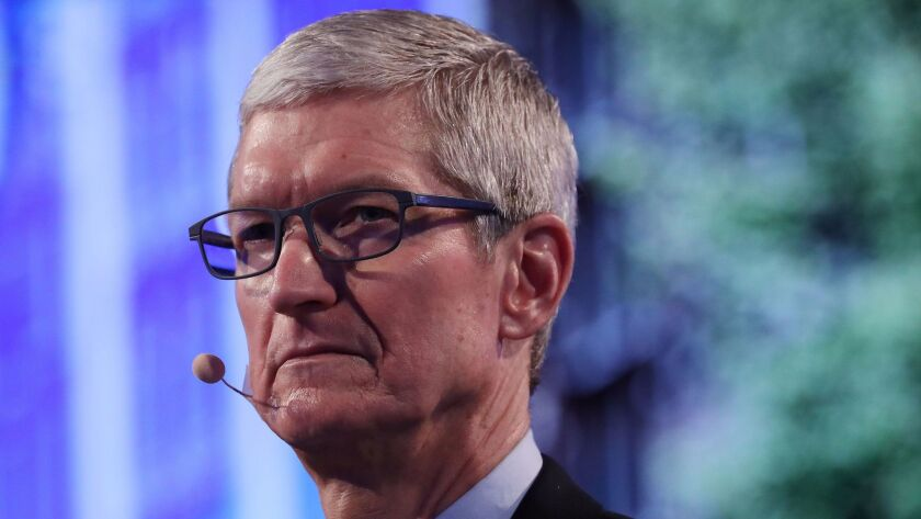 Apple CEO Tim Cook speaks at a business forum in New York in September. The company's tax-minimization strategies under Cook have come under renewed scrutiny with the release of the so-called Paradise Papers.