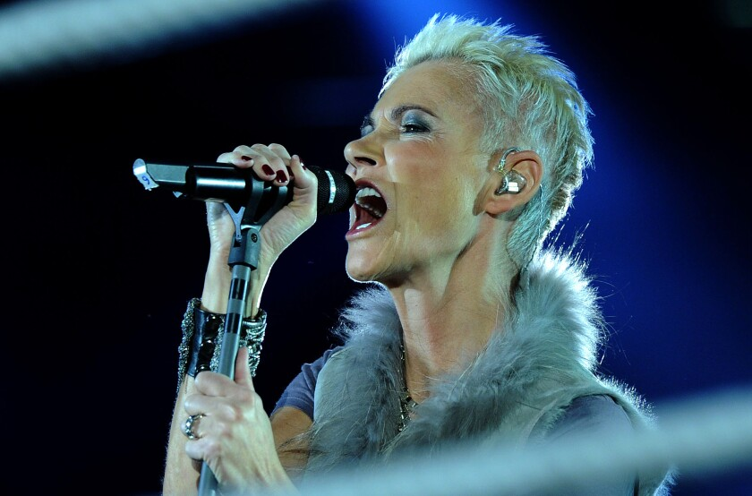 Swedish singer Marie Fredriksson of the pop group Roxette performs in Cologne, western Germany, in 2011.
