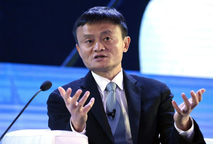 FILE - In this Nov. 18, 2015 file photo, Alibaba founder Jack Ma speaks at the CEO Summit, attended by 800 business leaders from around the region representing U.S. and Asia-Pacific companies, in Manila, Philippines, ahead of the start of the Asia-Pacific Economic Cooperation summit. Jack Ma, the h