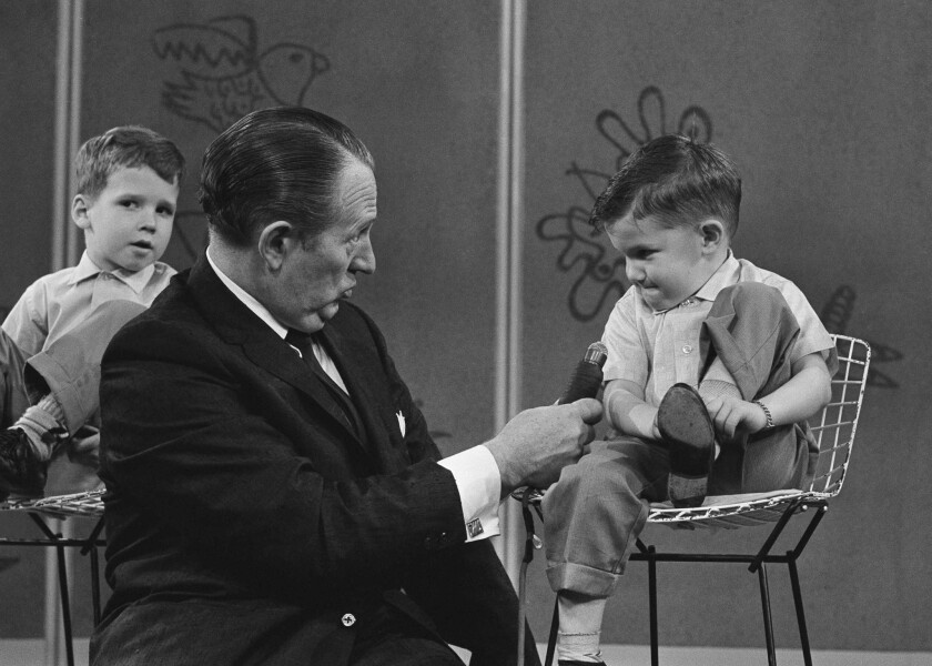 Art Linkletter interviews 4-year-old Ronnie Glahn on his show in 1962.