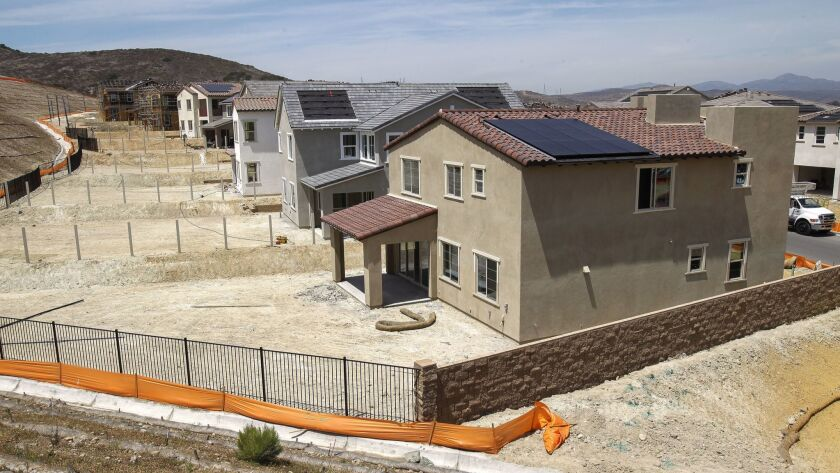SANTEE, May 8, 2018   Solar panels have been installed on the roofs of some of the newly built homes