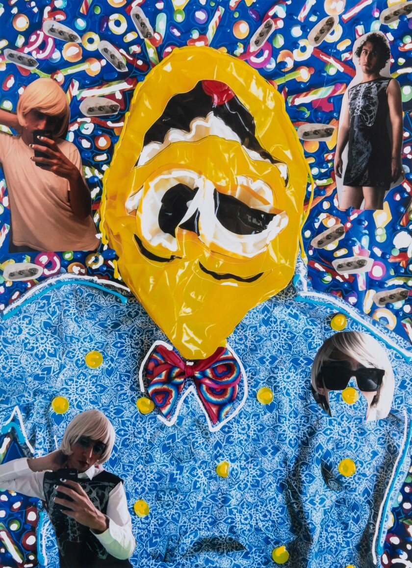 A collage shows a cartoonish figure with a bright yellow face surrounded by selfies of the artist