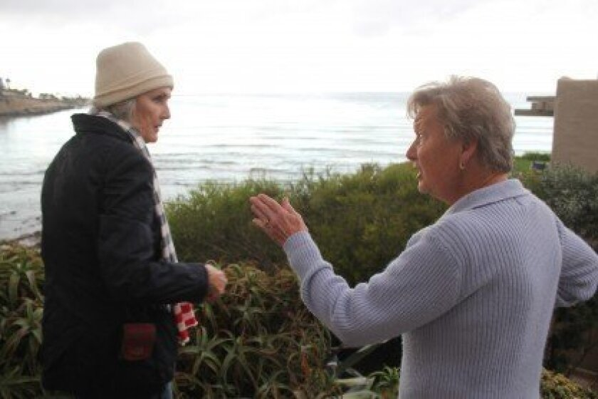 "Melinda Merryweather (left) and a Princess Street resident, who declined to state her name, debate the merits of reopening public beach access near her home. ""I think it's a disaster,"" the woman said. ""We have watched so much cliff (erode) in that area. It's gone — and there's nothing but rocks dow"