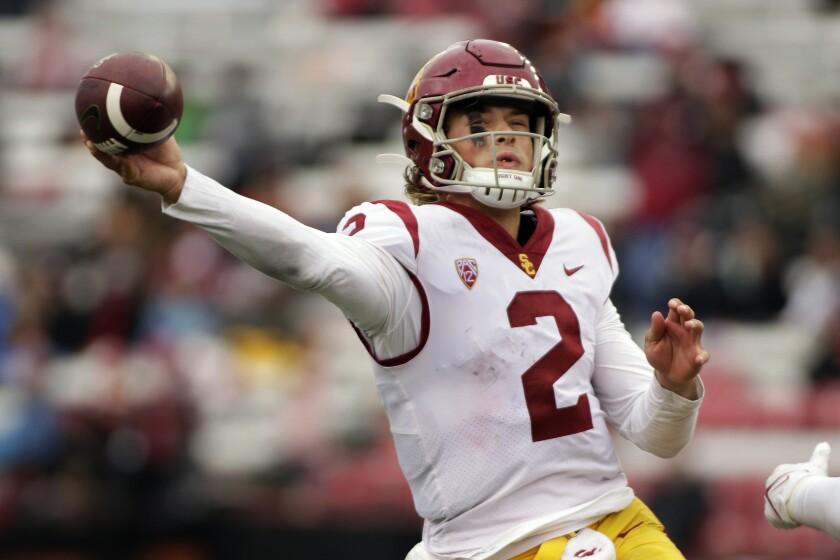 Southern California quarterback Jaxson Dart throws a pass during the second half of an NCAA.