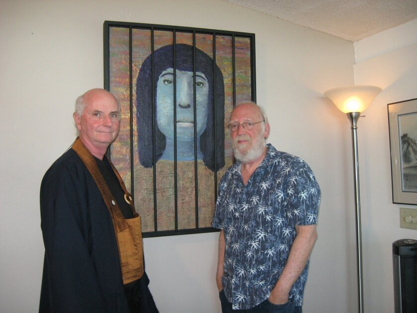 "Jake Gage, (left) founder of the Vista Zen Center, and artist Steve Wilson with the ""Zenda is Blue Sometimes"" painting."