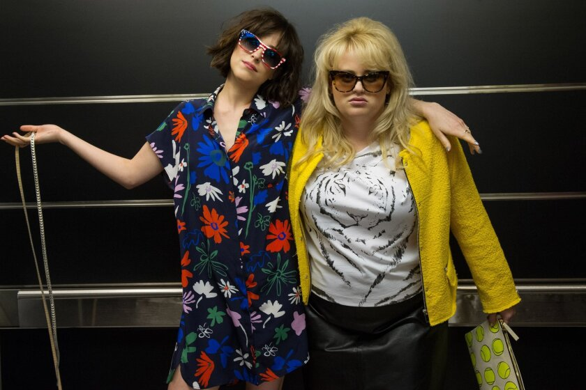 """This image released by  Warner Bros. Entertainment Inc. shows Dakota Johnson, left, and Rebel Wilson in a scene from, """"How to Be Single."""" (Barry Wetcher/Warner Bros. Entertainment via AP) Inc."""