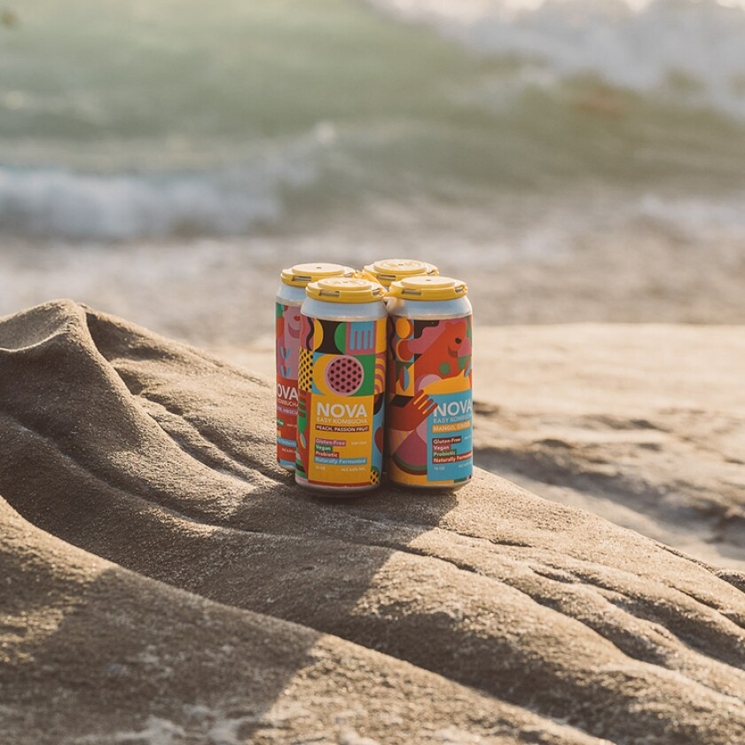 A four-pack of Nova Easy Kombucha, which is sold throughout San Diego County and available at its Ocean Beach tasting room