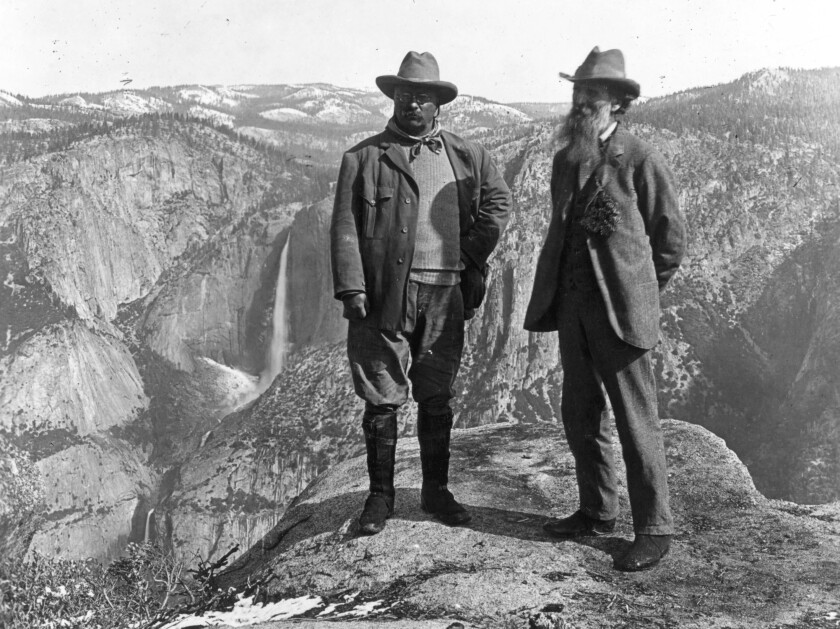 Theodore Roosevelt and American conservationist John Muir on Glacier Point in Yosemite