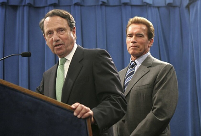 Gerald Parsky, chairman of the Commission on the 21st Century Economy, with California Gov. Arnold Schwarzenegger.