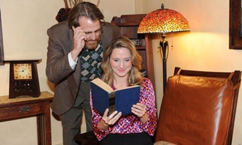 Rita (Meghan Andrews) gets inspiration from her tutor Frank (Bjørn Johnson) in 'Educating Rita' at the North Coast Repertory Theatre. Photo/Ken Jacques