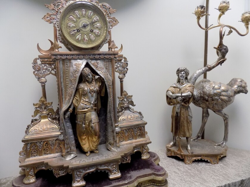 A clock from the 1893 Chicago World's Fair (also known as the World's Columbian Exposition) featuring the dancer Little Egypt that was scandalous in its day is on display at the West Coast Clock and Watch Museum.