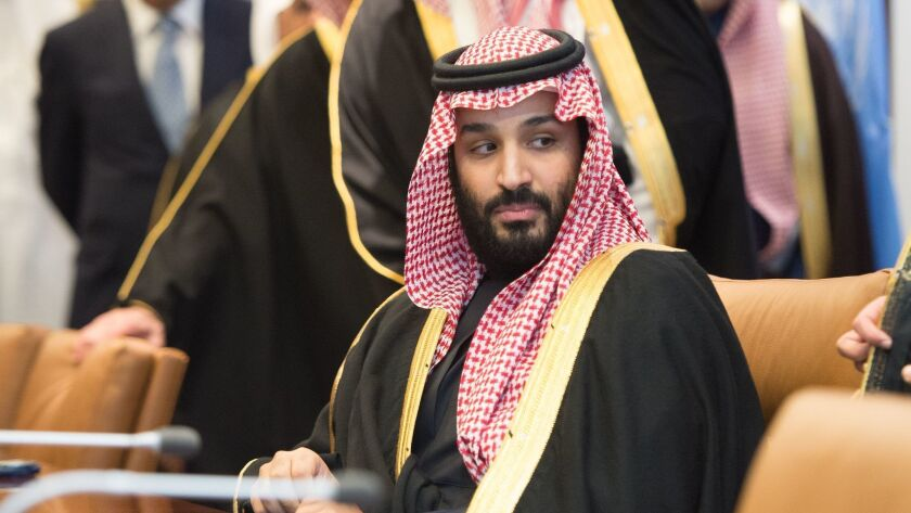Prince Mohammed bin Salman, the crown prince of Saudi Arabia, attends a meeting at the United Nations.