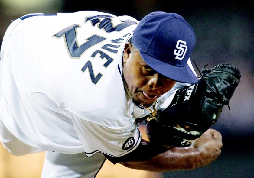 Edinson Volquez is the third Padres hurler to throw a complete game shutout at Petco, joining Jake Peavy and Ismael Valdez. Sean M. Haffey • U-T
