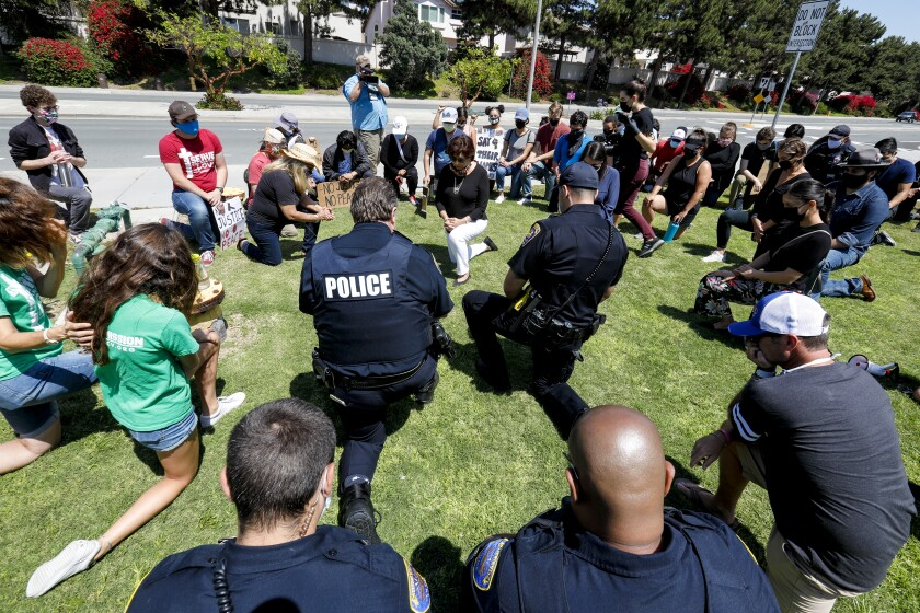 Chula Vista Mayor, Mary Salas and along with several officers from the Chula Vista Police Department took a knee with protestors on Thursday to show support for George Floyd. More than 100 protestors peacefully demonstrated along Eastlake Parkway near Eastlake High School.