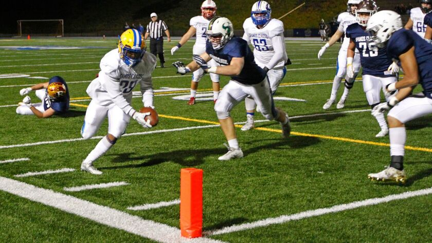 Mira Mesa's Lamar Raboteau goes in for a TD in last year's Alex Spanos All-Star Classic at Mesa College.