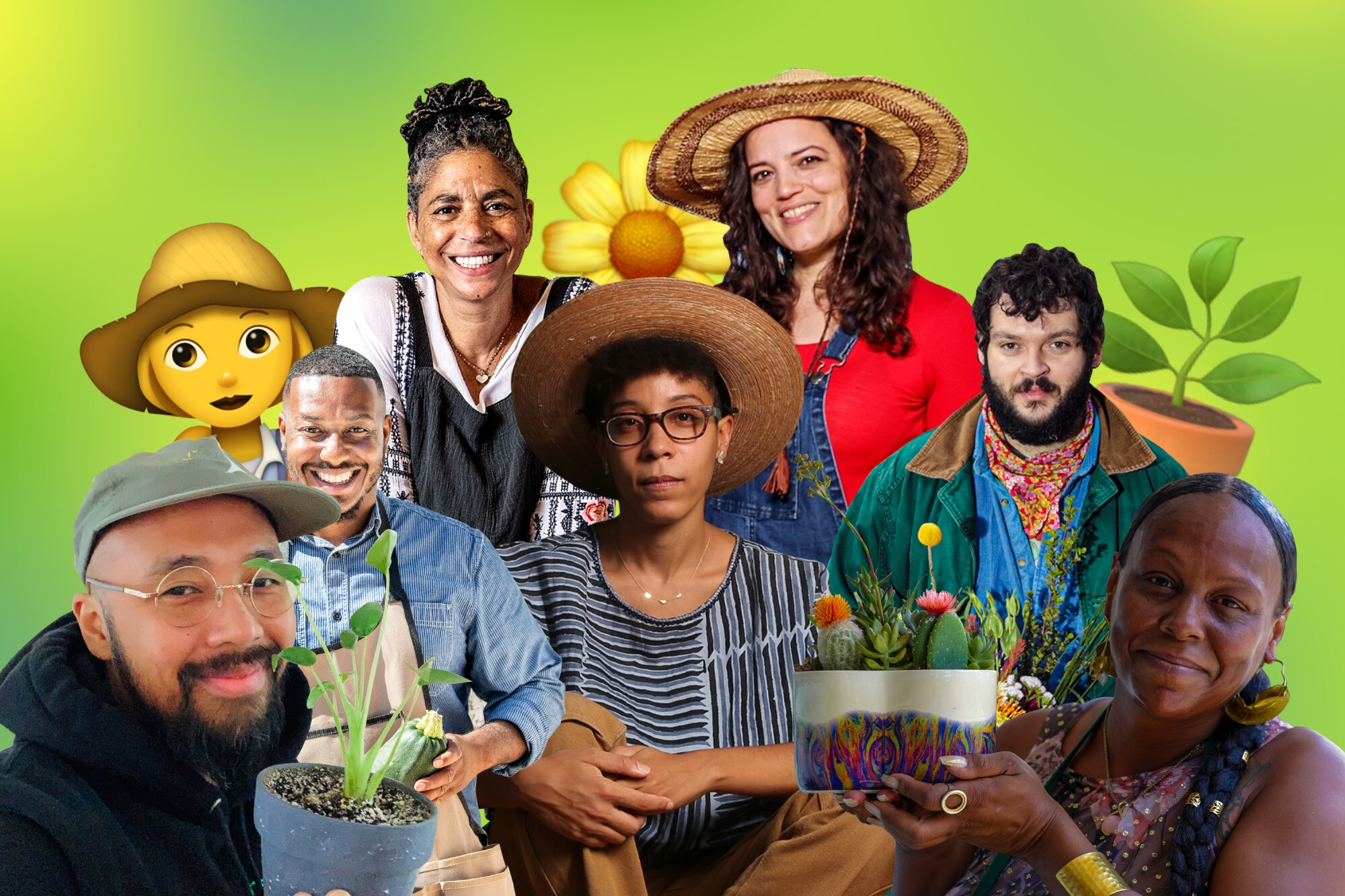A collage of seven people, some holding plants or wearing gardening hats