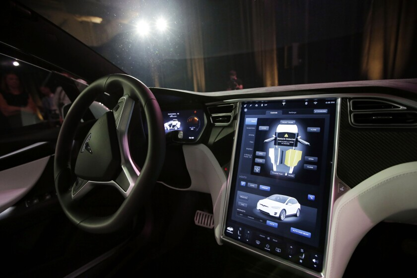 The dashboard of the Tesla Model X in 2015.