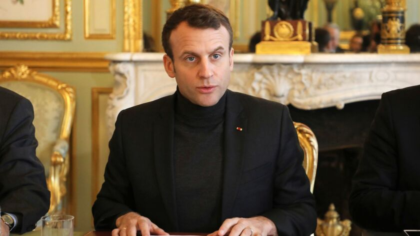 French president Emmanuel Macron speaks during a Trianon Council meeting aiming to strengthen the li