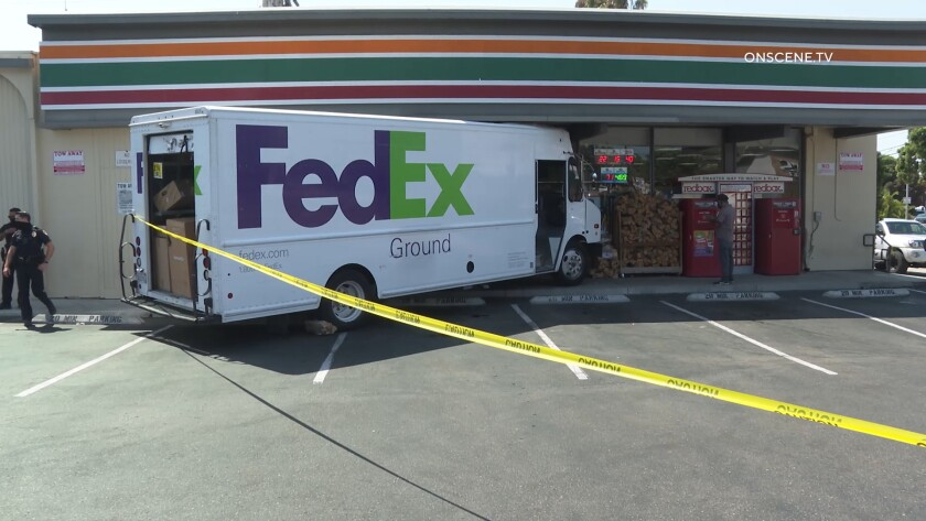 A FedEx truck crashed into the front of a 7-Eleven store in Pacific Beach on Aug. 18.
