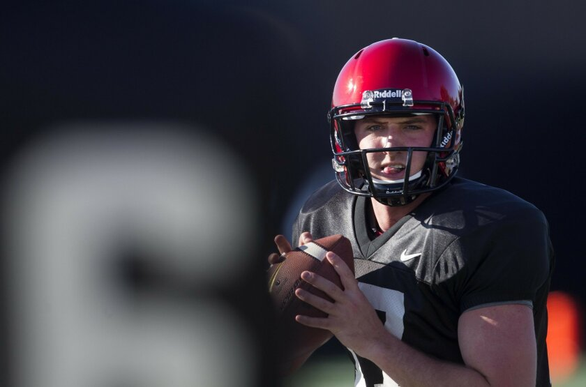 San Diego State Aztecs workout in Spring Practice at SDSU. Aztec Quarterback possible Maxwell Smith works out Wednesday.